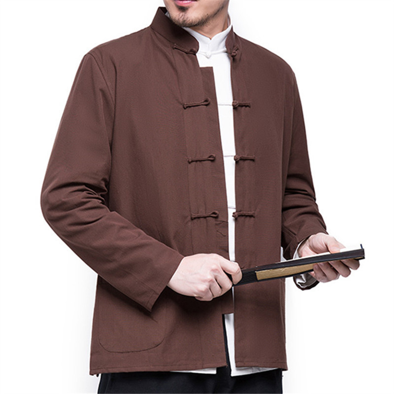 H37cfa80930a0471fb95463eb8adbbac2m 2019 Autumn New Men's Chinese Style Cotton Linen Coat Loose Kimono Cardigan Men Solid Color Linen Outerwear Jacket Coats M-5XL