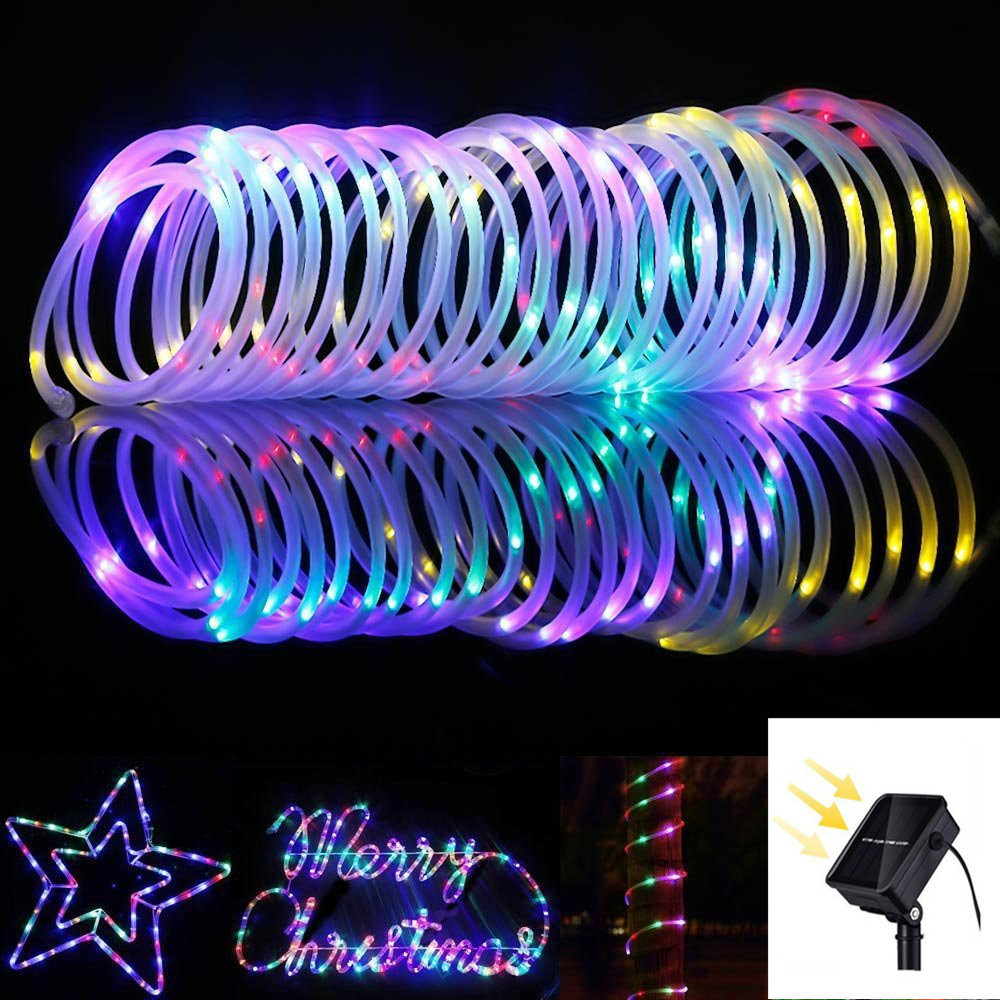 50/100/200LED Solar Light Outdoor Rope Tube Fairy String Light Waterproof Holiday Party Wedding House Decorative Christmas Light