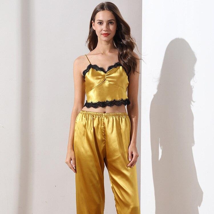 Sexy Lace Spaghetti Strap Women Pajama Set Thin Section Ice Silk Sleepwear