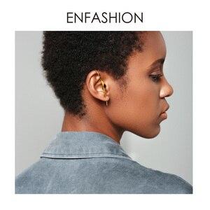 Image 5 - ENFASHION Punk Wave Simple Stud Earrings For Women Gold Color Statement Geometric Curve Earings Fashion Jewelry Oorbellen EC1070