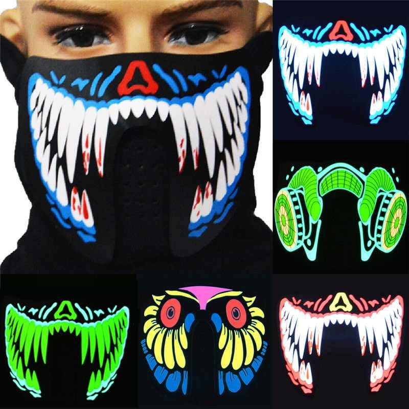 Voice Control Dynamic Pattern Halloween Led Terror Face Mask Cold Light Halloween Party Decoration
