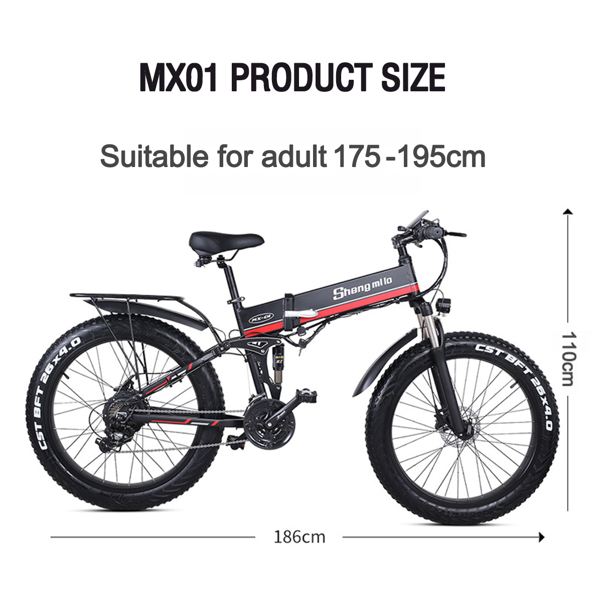 MX21 21W Strong Electric Snow Bike, 21 grade Pedal Assist ...