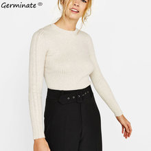 Germinate Autumn Apricot Sweater Women Casual Knitted Long Sleeve Streetwear Turtleneck Pullover Vintage Ladies Jumpers Sweaters(China)