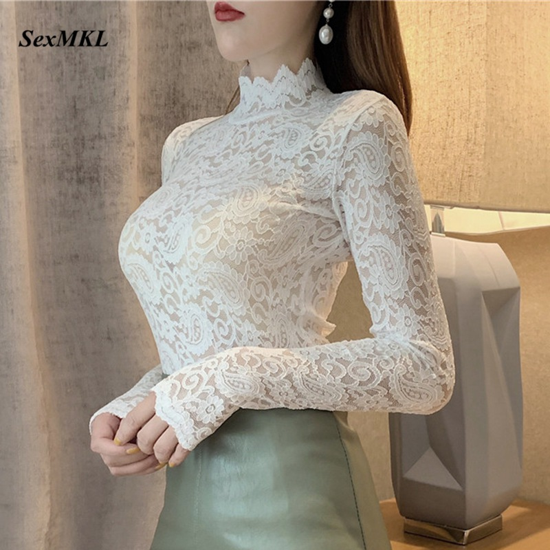 Woman White Lace Blouse Transparent Summer Women Blouses Plus Size Womens Tops and Blouses Sexy Black Lace Shirts Long Sleeve
