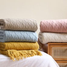 Nordic Knitted Blanket Grey Khaki Throw Blankets Sofa Bed Decorative Office Nap Thread Blankets Plaid Bedspreads Bed Sofa Cover