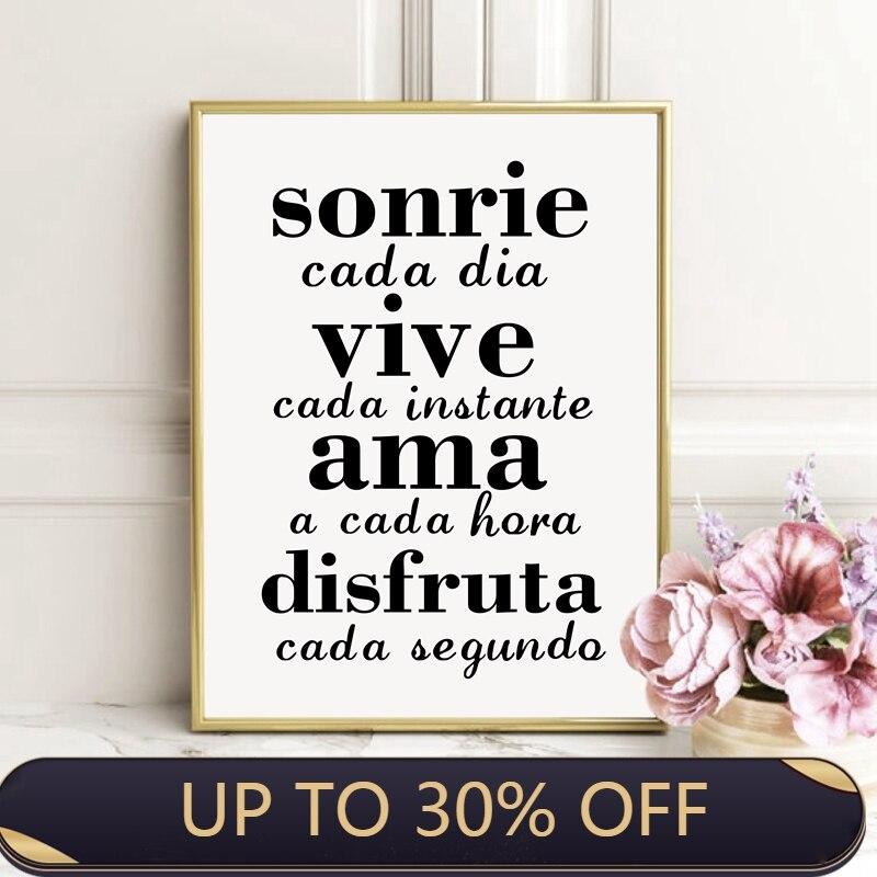 Citations inspirantes espagnoles toile peinture affiche murale, sourire tous les jours vivre chaque Moment espagnol toile Art imprime décor à la maison