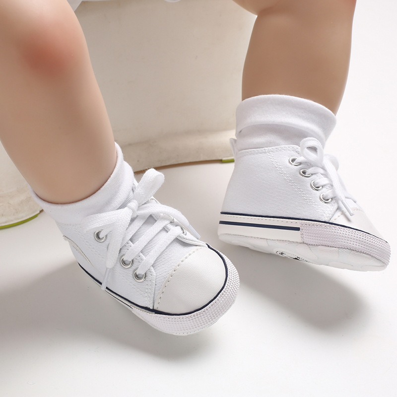 Baby canvas classic sports sneakers newborn baby boy white dress shoes print star first walkers shoes infant toddler anti-slip baby shoes