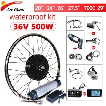 Kit de conversión de bicicleta eléctrica rueda de Motor de 500W, 48V, 250W, 350W, 500W, Motor central delantero/trasero, 350W, 36V, 26 pulgadas, LCD