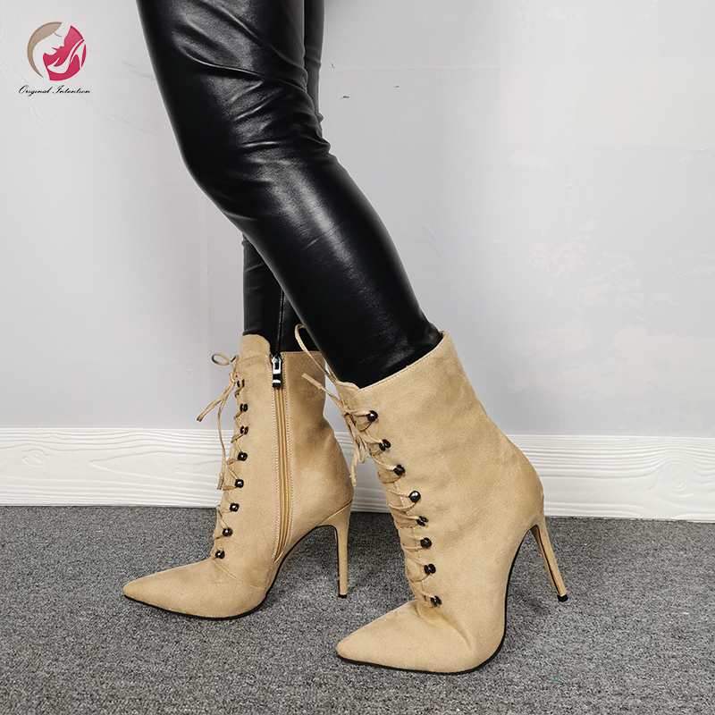 Original Intention New Fashion Sexy Khaki Cross-tied Ankle Boots Woman Pointed Toe Thin High Heels Lace-up Commuting Shoes Woman