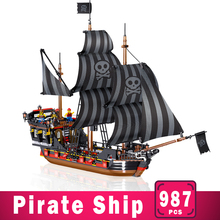 987Pcs Pirates Caribbean Bricks Bounty Pirate Ship Building DIY Blocks Sets Educational Toys Christmas Gifts for Children Kids in stock lepin 22001 pirates series the imperial flagship model building blocks set pirate ship toys for children 10210