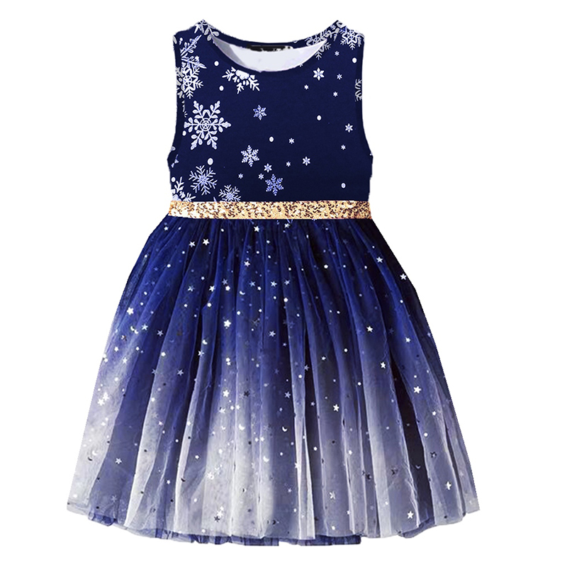 VIKITA Kids Sleeveless Dress For Girls Princess Costumes Party Snowflake Dress For Kids Girl Children Sequins Tutu Dresses
