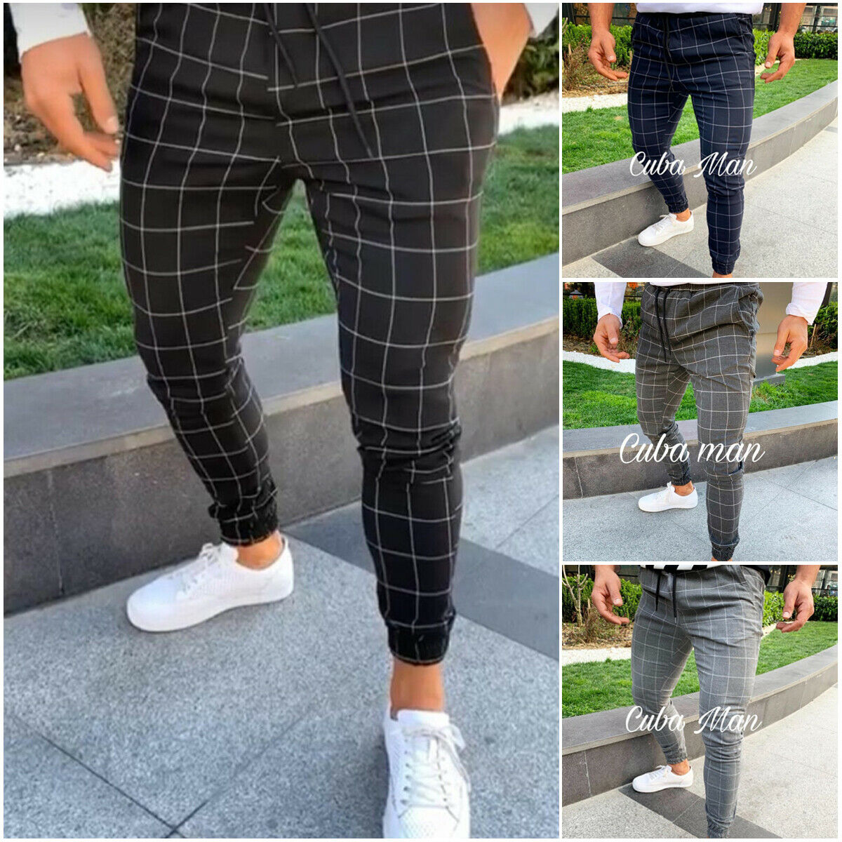 Hot Men's Sport Pants Long Plaid Tracksuit Skinny Elastic Fit Workout Joggers Casual Sweatpants Male Casual Trousers M-3XL