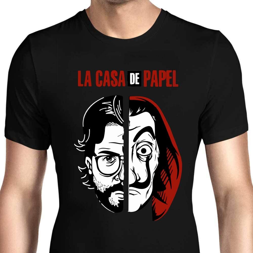 QZHIHE hombres diseño divertido La Casa De Papel camiseta dinero Heist Tees TV Series camisetas hombres manga corta Casa de papel camiseta