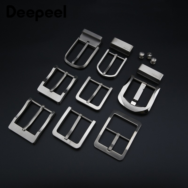 Deepeel 1pc High-grade Pure Titanium Alloy Belt Buckle Anti-allergy Pin Buckle Belt Head Clip DIY Jeans Leathercraft Accessories