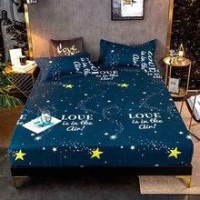 Mattress-Cover Bed-Sheet Linen King-Size Pillowcases Elastic-Band Geometric-Printed GOANG