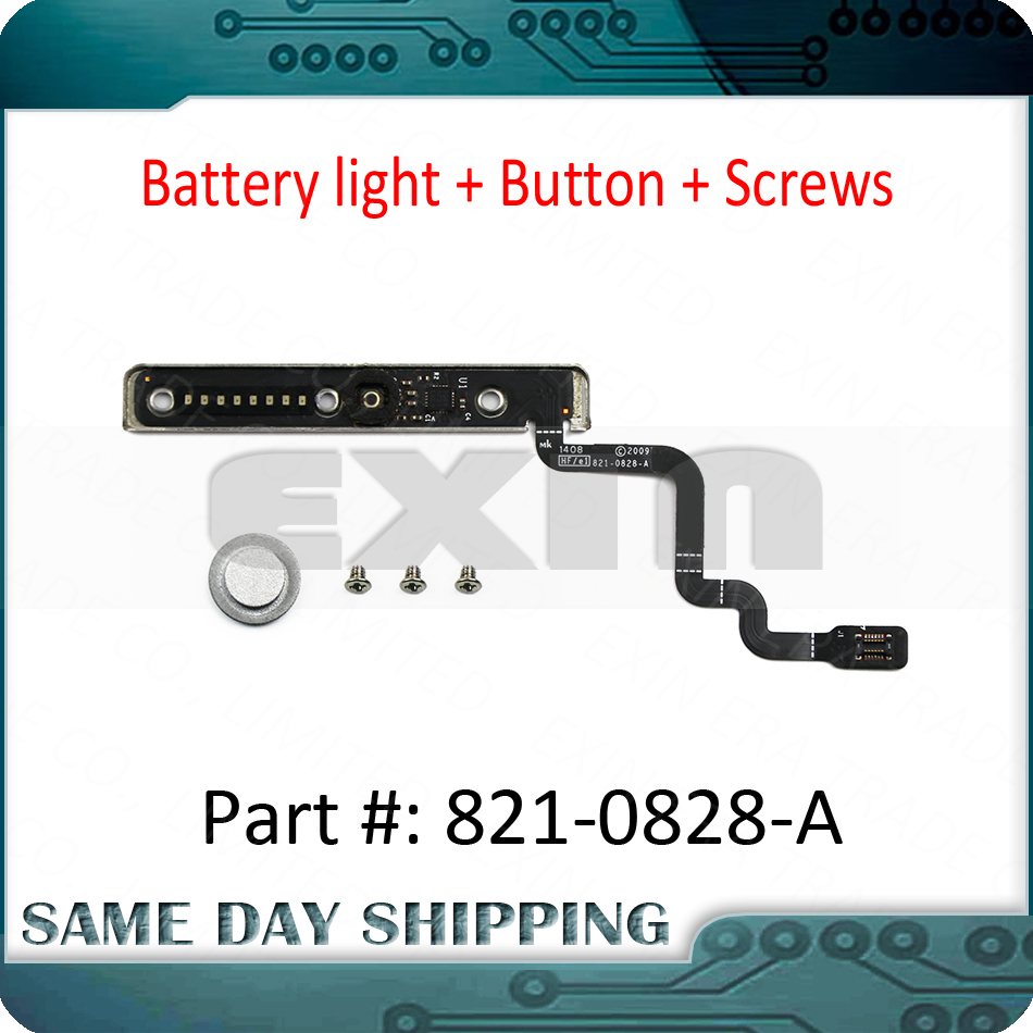 Genuine 821-0828-A For Macbook Pro 13'' A1278 Battery Sleep Indicator Battery Light Cable + Screws + Button 2009-2012 Year