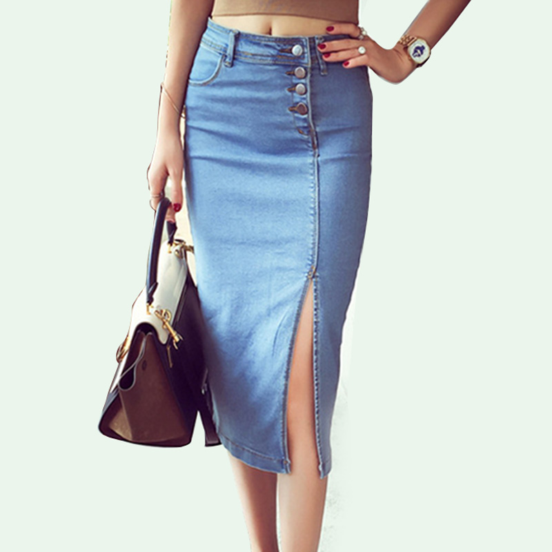 Bonjean Women's Denim Pencil Skirt New Casual High Waist Slim Long Jeans Skirts Women Young Girl Summer Female Falda