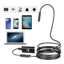 купить WIFI Endoscope Camera Mini Waterproof Soft Cable Inspection Camera 8mm USB Endoscope Borescope IOS Endoscope For Iphone Android дешево
