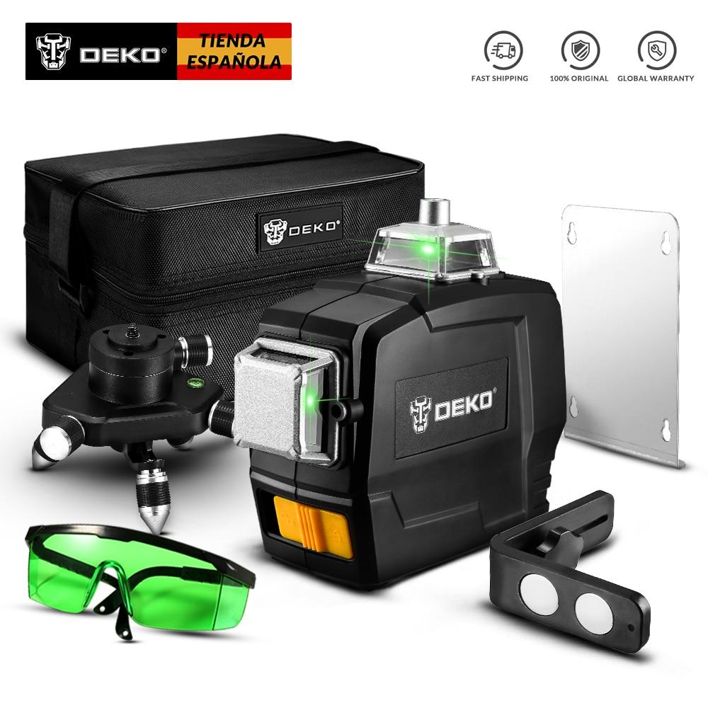 DEKO Новая серия 12 линий 3D зеленый лазерный уровень Горизонтальные и вертикальные поперечные линии с автоматическим самонивелированием, в по...