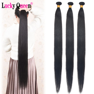 Image 5 - Lucky Queen Brazilian Straight Human Hair Bundles With Frontal 13x6 Lace Frontal With 30 Inch Bundles Remy Human Hair Extension