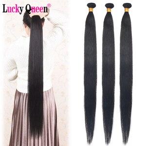 Image 5 - Mèches brésiliennes Remy lisses Lucky Queen, avec Lace Frontal 13x6, 30 pouces, extensions de cheveux naturels