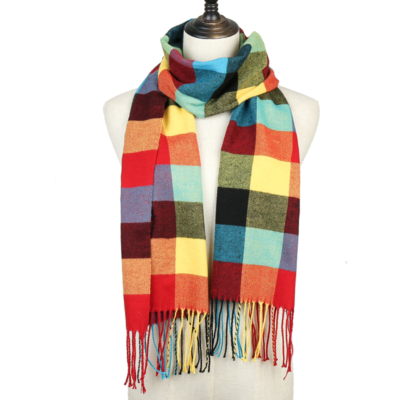 2019 Fashion Plaid Solid Winter Scarf For Women Pashmina Shawls Wraps Lady Warm Tassel Blanket Men Scarves Cashmere Bufanda