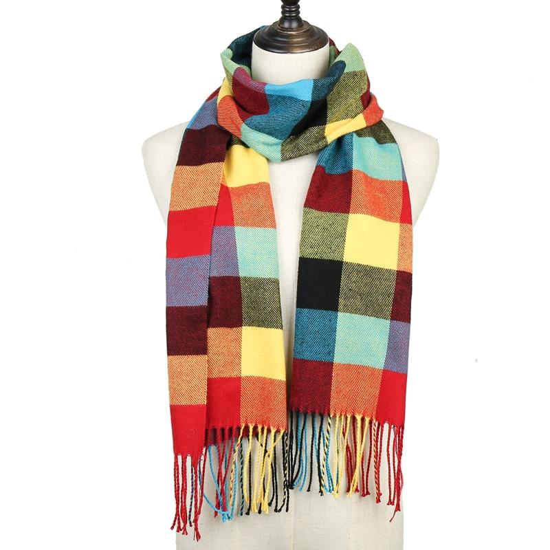 2020 Fashion Plaid Solid Winter Scarf For Women Pashmina Shawls Wraps Lady Warm Tassel Blanket Men Scarves Cashmere Bufanda