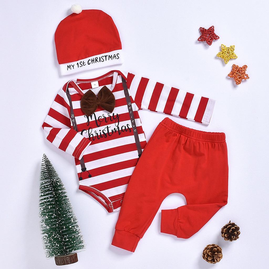 Newborn Baby Boy Girl Long Sleeve Tops Romper+Pants+Hat 3PCS Outfits Clothes Set