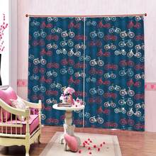 Customized 3D Bicycle Curtains Retro Pattern with Different Bicycles Fun Ride Urban Living Room Bedroom Window Drapes(China)