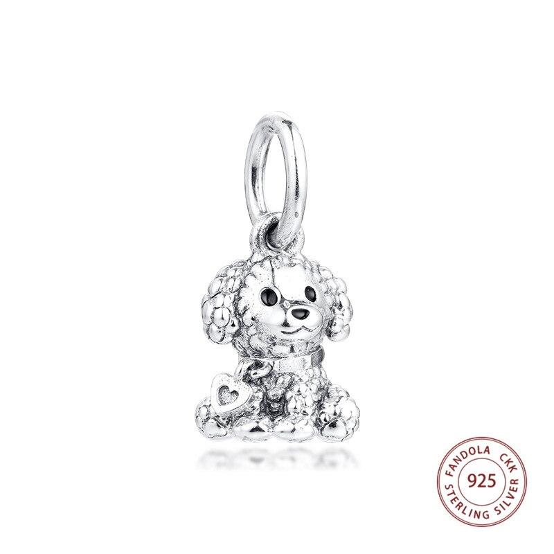 925 Sterling Silver White Enamel Poodle Shaped Pendant