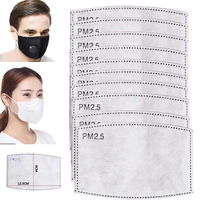 5-50Pcs PM2.5 Filter Activated Carbon Filter paper Anti Haze mouth Insert Protective Filter Adult Kids 5 Layers Non-woven Mask