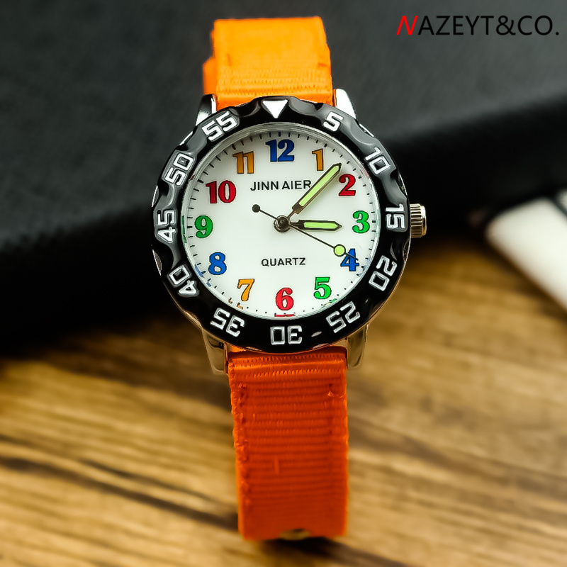 High Quality Children 3D Simple Design Color No. Scale Quartz Watch Little Boys Girls Student Luminous Hands Nylon Sports Clock