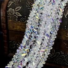 Yanqi błyszczące 6mm Faceted trójkąt paciorki szklane kryształowe koraliki Austria do tworzenia biżuterii kolczyki Spacer koraliki aliexpress