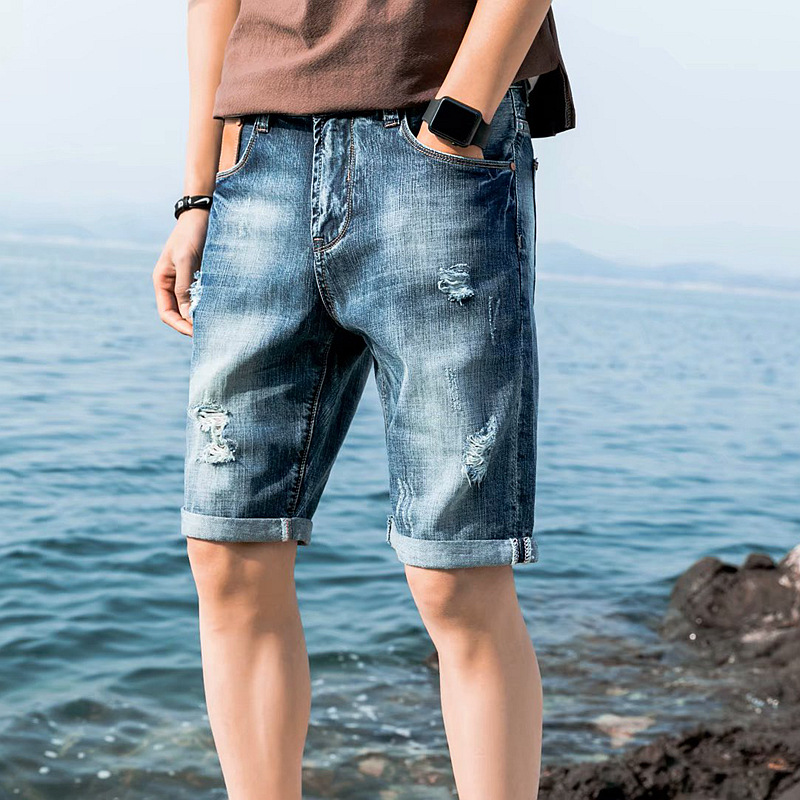 2019 Summer New Style Shorts Men's Thin Slim Fit Korean-style Trend Casual With Holes Ripped Jeans Denim Shorts Men's