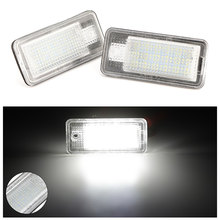 2 pces luz da placa de licença para audi a3 s3 a4 s4 b6 a6 s6 a8 s8 q7 conduziu a luz para o número de licença do carro luz da lâmpada luzes do carro quente