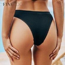 FINETOO 2 unids/set brasileño de las mujeres bajo la cintura tangas M-2XL ropa interior de encaje chicas G-String Panty calzoncillos femeninos ropa interior