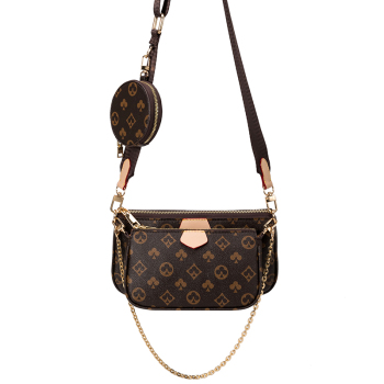 Vintage Printing Handbag 3-IN-1 Fashion Brand Messenger Bags for Women Pu Leather Crossbody Bag Lady Small Purse Handbag Totes 2