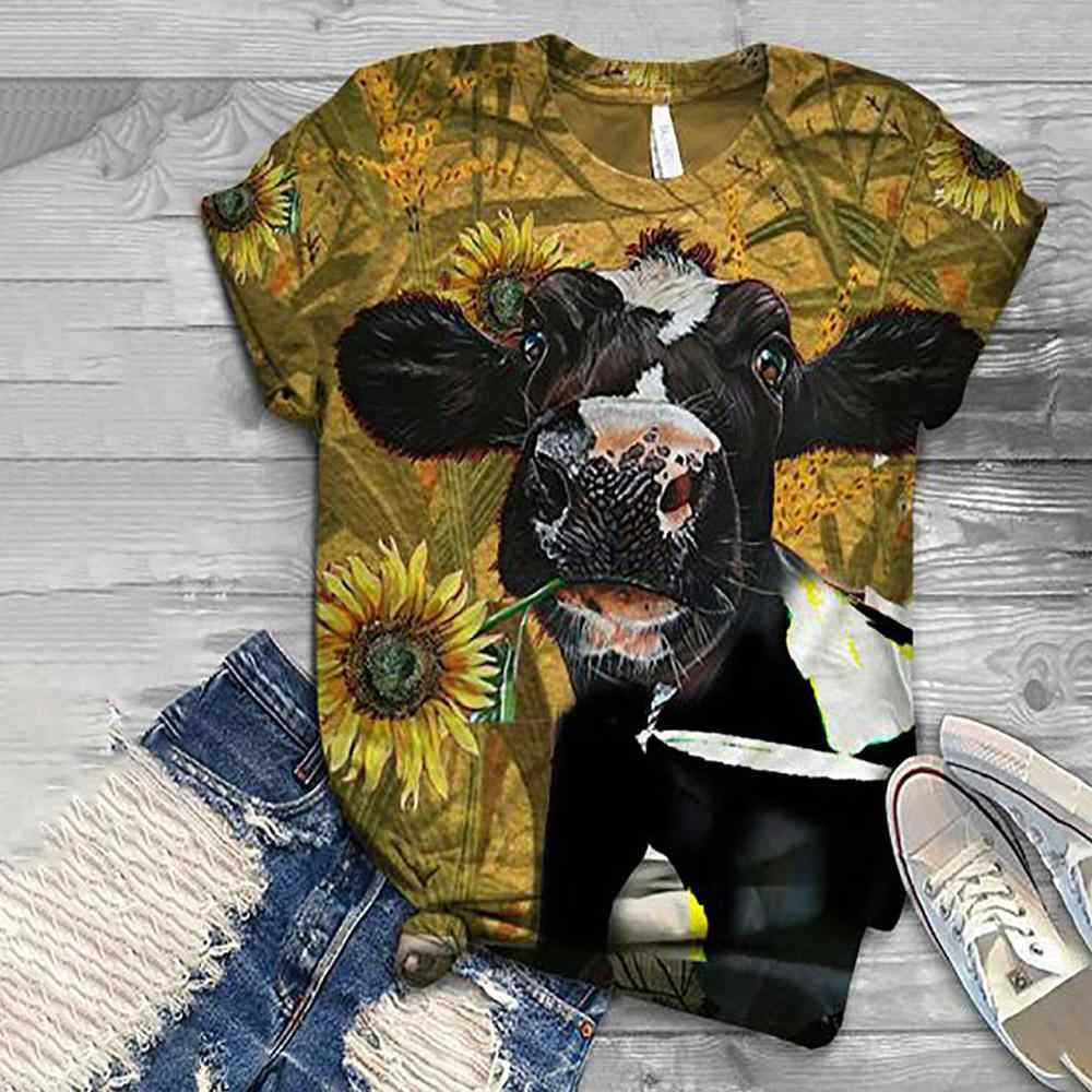 2020 delle donne del fumetto harajuku t shirt top cow dog stampa di pollo 3D animale top o-collo manica corta camicia di t del cotone футболки mujer