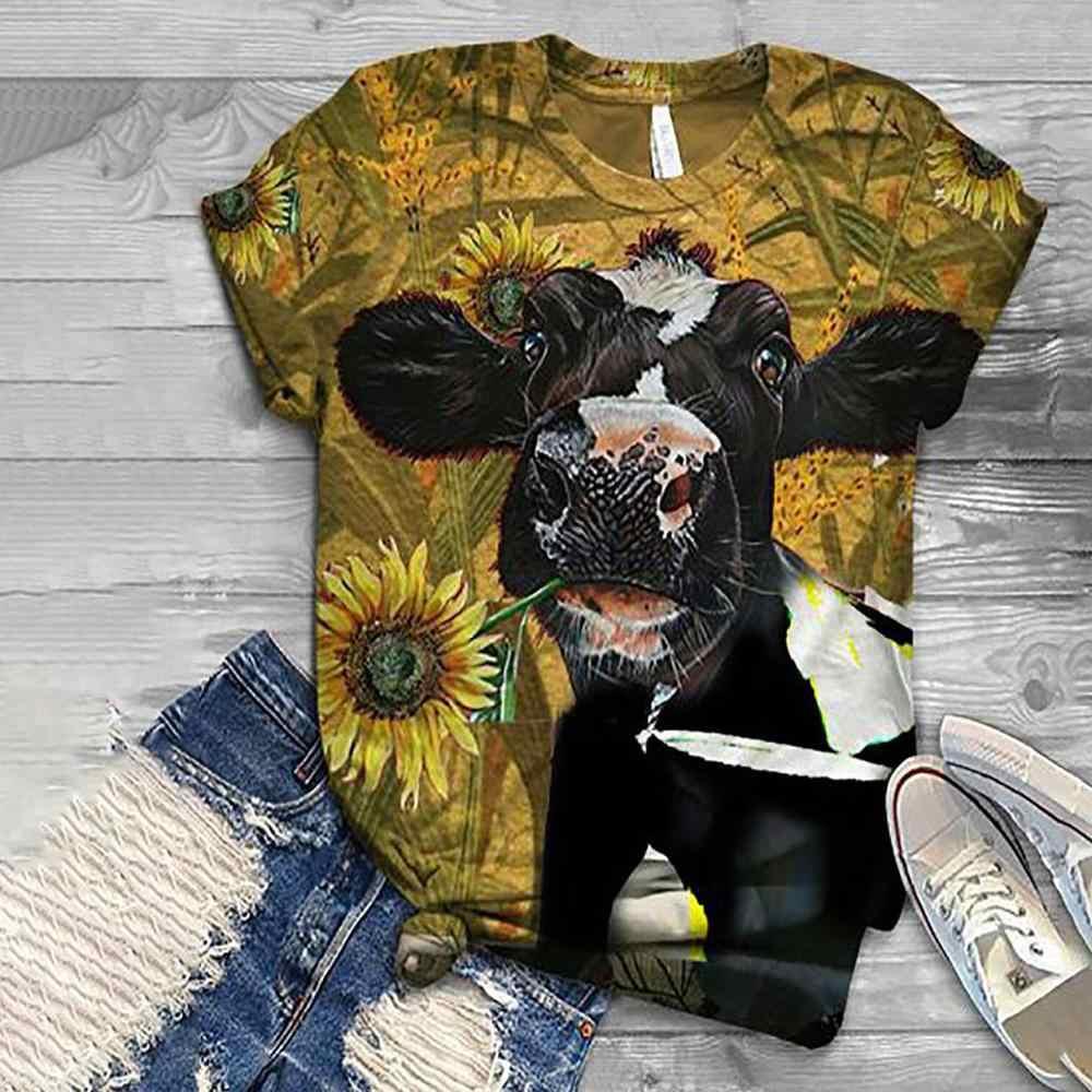 2020 delle donne del fumetto harajuku t shirt top cow dog stampa di pollo 3D animale top o-collo manica corta camicia di t del cotone футболки mujer