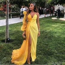 Yellow One Shoulder Mermaid Prom Dresses with Slit Long Puff Sleeve Dubai Evening Gowns 2020 Sexy V Neck Long Women Formal Dress