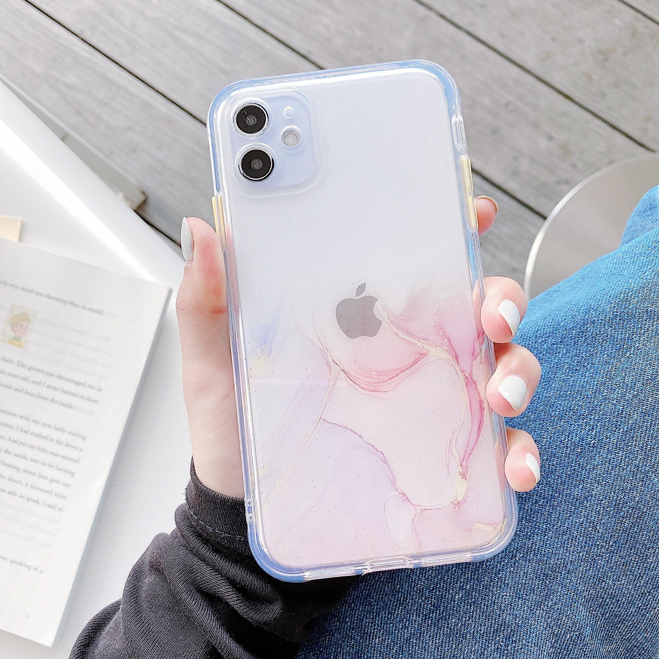 Coque transparente en marbre pour iphone, compatible modèles 6, 6s, 7, 8 Plus, SE 2020, 11 Pro Max, XR, X, XS Max, dégradé acrylique