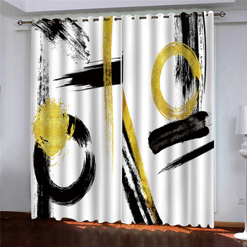 Curtains Decoration European 3D Curtains For Living room Blackout Black graffiti on white background room Bedroom
