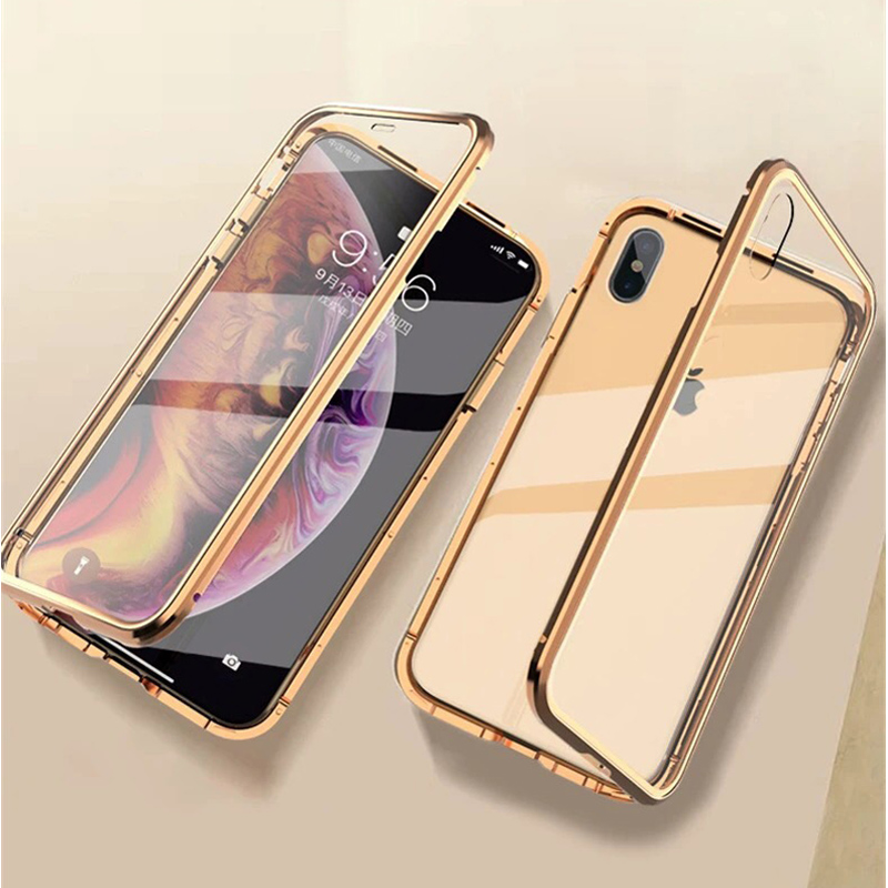Luxury Double Sided Front Back Glass Metal Magnetic Case For iPhone 7 8 plus 7plus 8plus iPhone XR X XS Max Case 360 Phone Cover