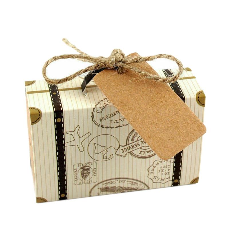 100PCS Vintage Mini Suitcase Sweet Cake Candy Box Wedding Party Favor Gift Boxes