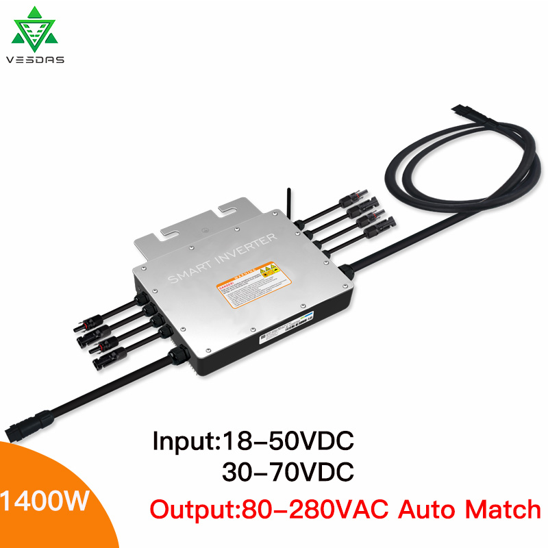 MPPT Solar Grid Tie Micro Inverter 1400W SG1400 Microinverter Micro Inversor Solar Pure Sine Wave Input 24/36V Output 110/220V