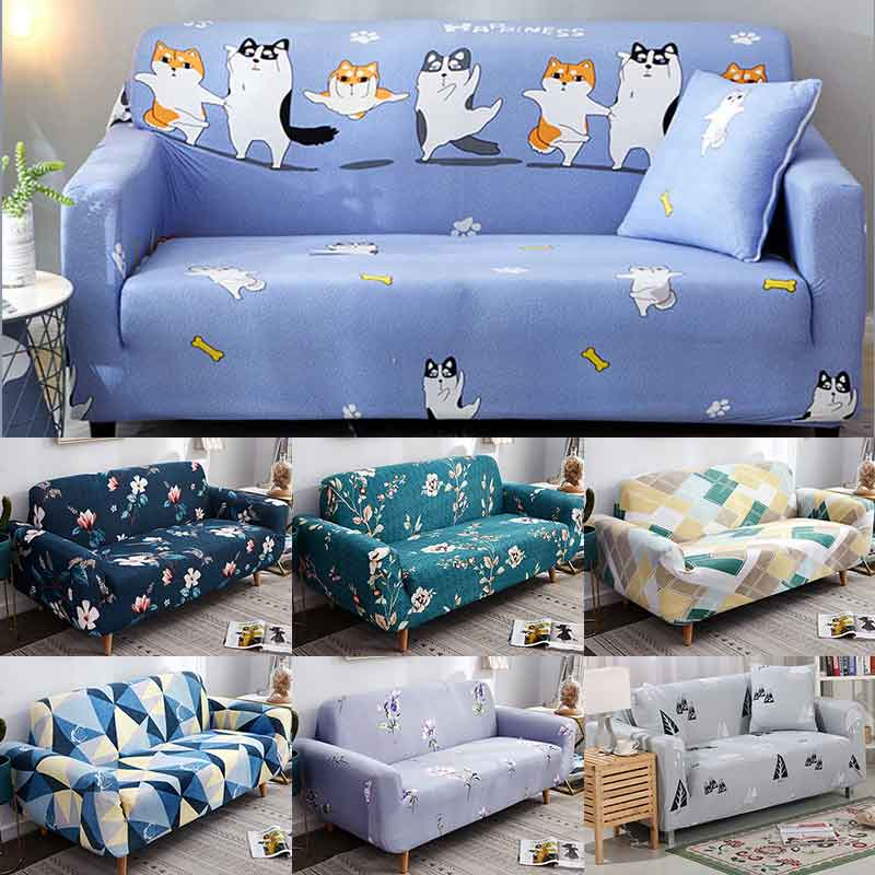 Elastic Couch Sofa Cover Cute cartoon dog Corgi pattern Slipcover Armchair Furniture Cover for Living Room 1/2/3/4-seater 1