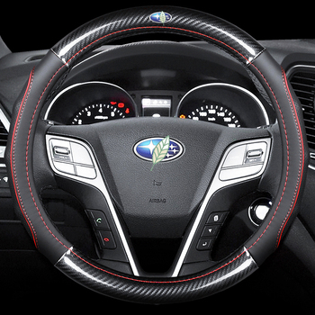 Car Carbon Fiber Leather Steering Wheel Covers Interior Accessories 38cm for Subaru WRX Impreza STi BRZ Forester XV Car Styling airspeed for subaru levorg xv sti forester wrx impreza accessories sti led cup coaster acrylic cup holder interior decoration