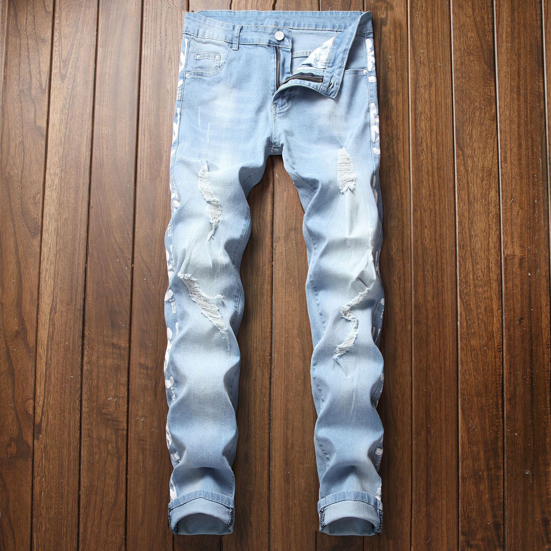 New Style Men'S Wear With Holes Elasticity Printed Jeans Slim Fit MEN'S Jeans
