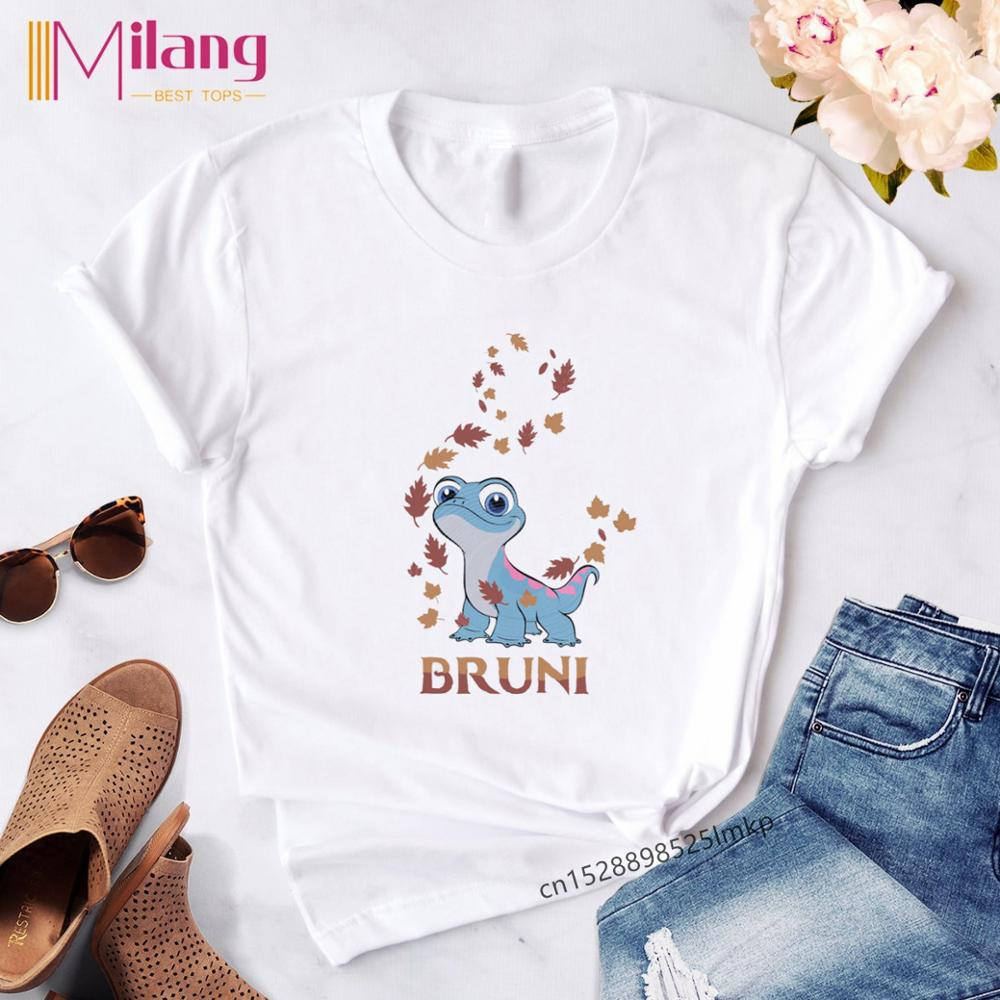 Women's Funny Kawaii Bruni Print T Shirt Women Cute Olaf T-shirt Female Harajuku Tops Vogue Clothes Tees Shirt