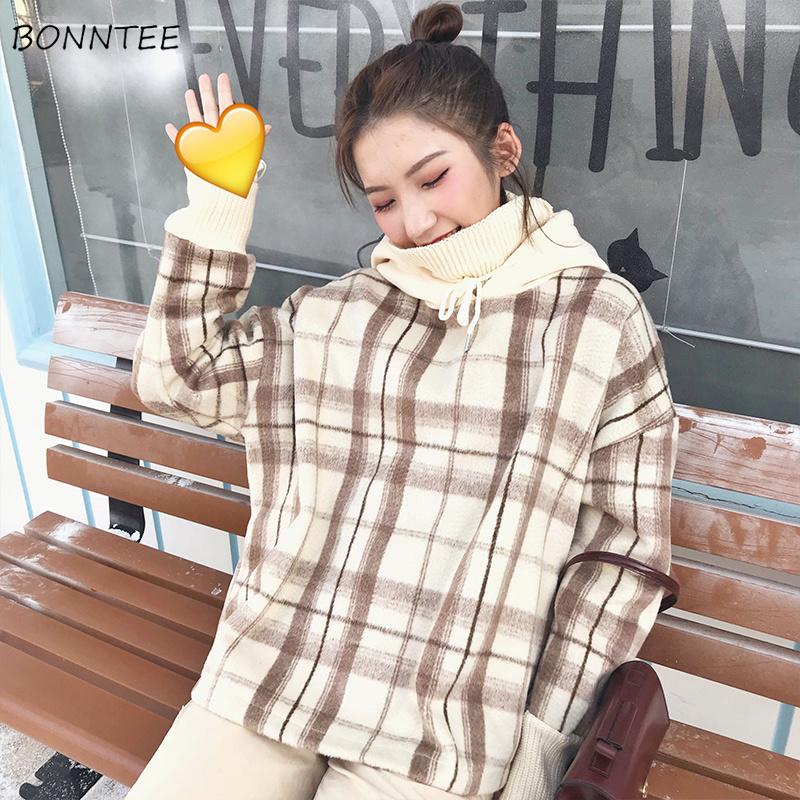 Hoodies Women Hooded Winter Warm Plaid Print Thicker Plus Velvet Turtleneck Loose Womens Hoodie Korean Style Trendy Harajuku New